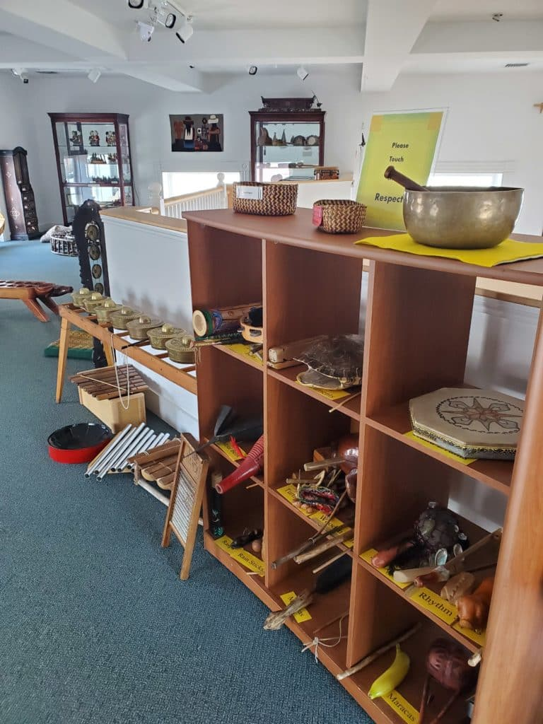 Shelves of musical instruments from around the globe available for use