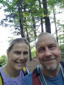 Two hikers on the trail
