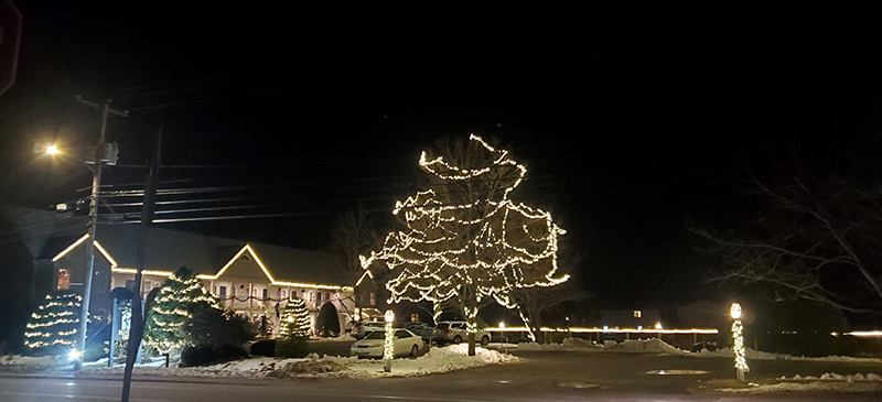 holiday lights strung up on trees and bushes in the foreground with the inn lit up with lights on the trim of the roof.