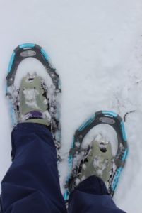 blue snowshoes on feet