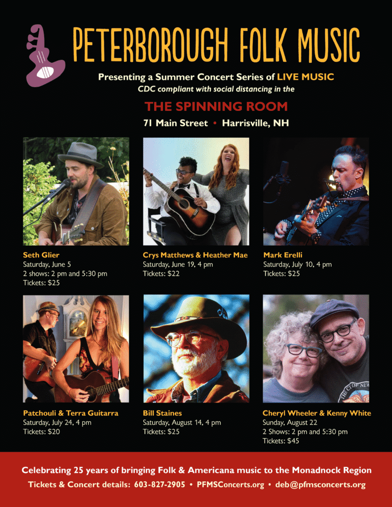 A poster for the Peterborough Folk Music Society's Summer line up. Six bands are featured with images to accompany them and details