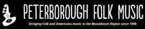 Black and white banner for Peterborough Folk Music Society