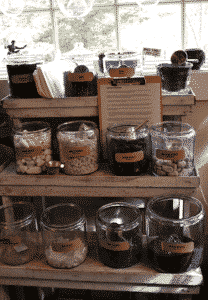 Jars of rocks and bark for creating terrariums
