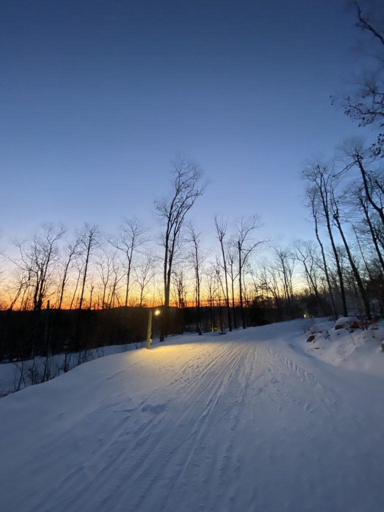 Sunrise on a large cross-country ski trail