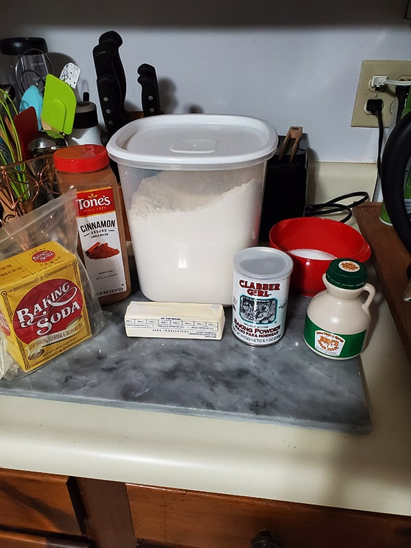 counter with ingredients to make cookies