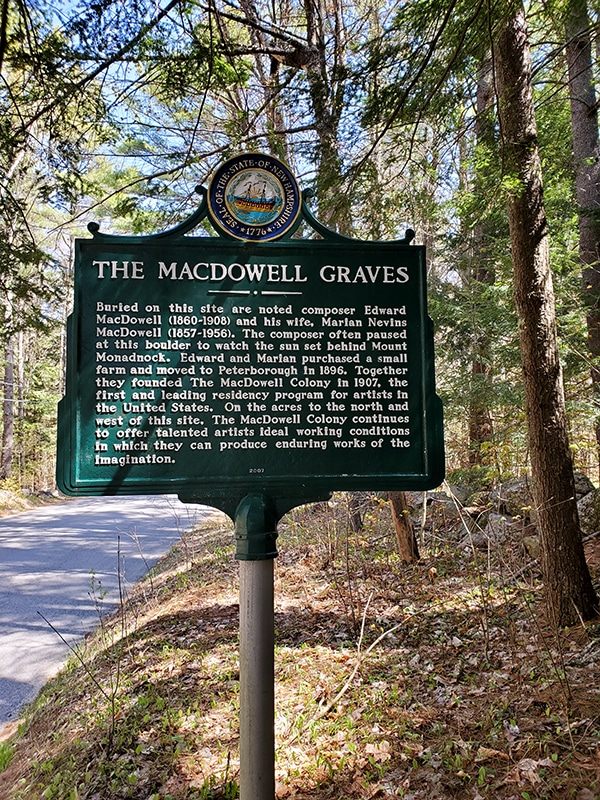 Green Historic marker sign for MacDowell Graves