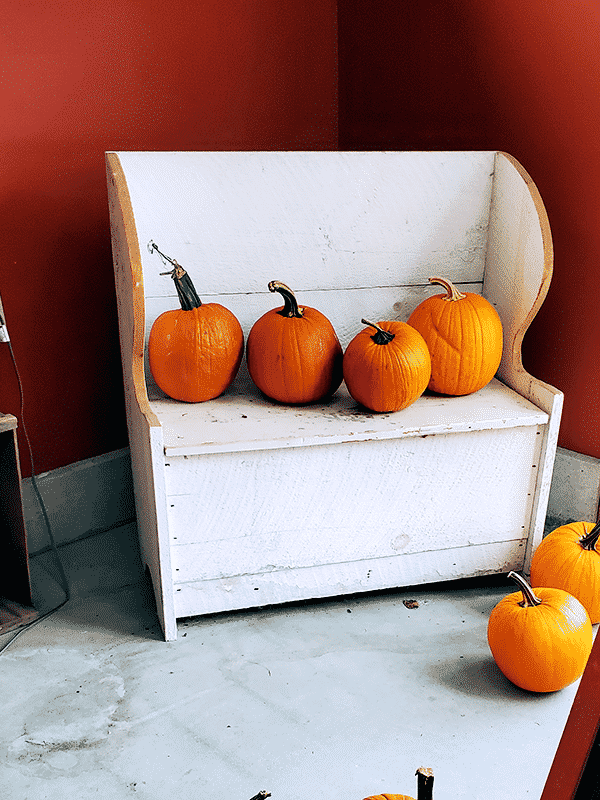 White indoor bench with orange pumpkins sitting on top and to the side