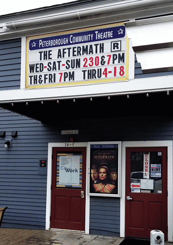 Front of Peterborough Community Theatre with marquee