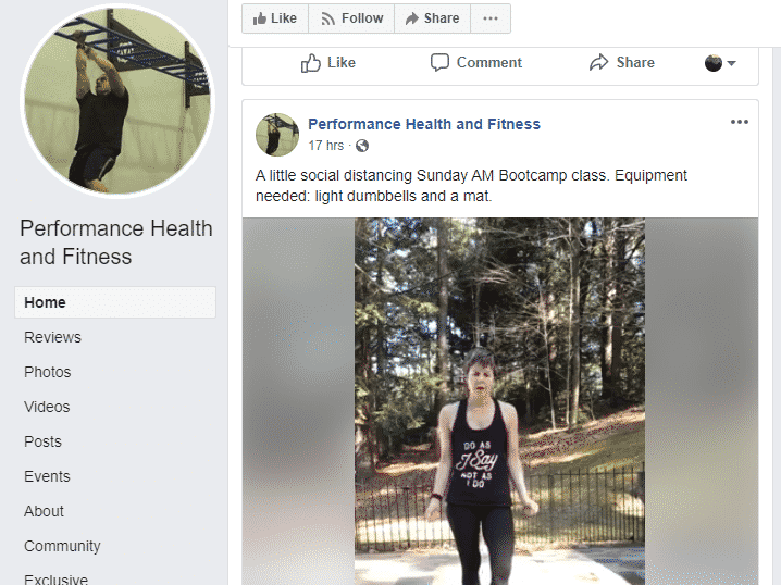 Screenshot of performance health and fitness facebook page with a video workout