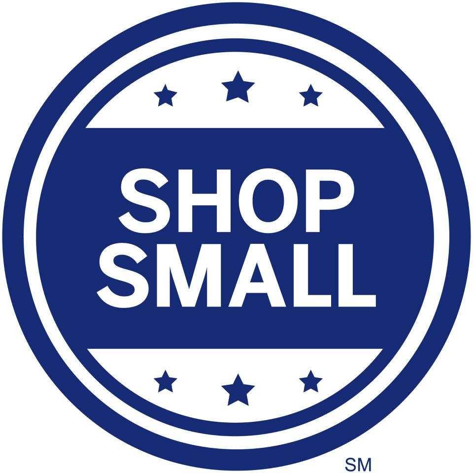 Blue and white logo for Shop Small Saturday