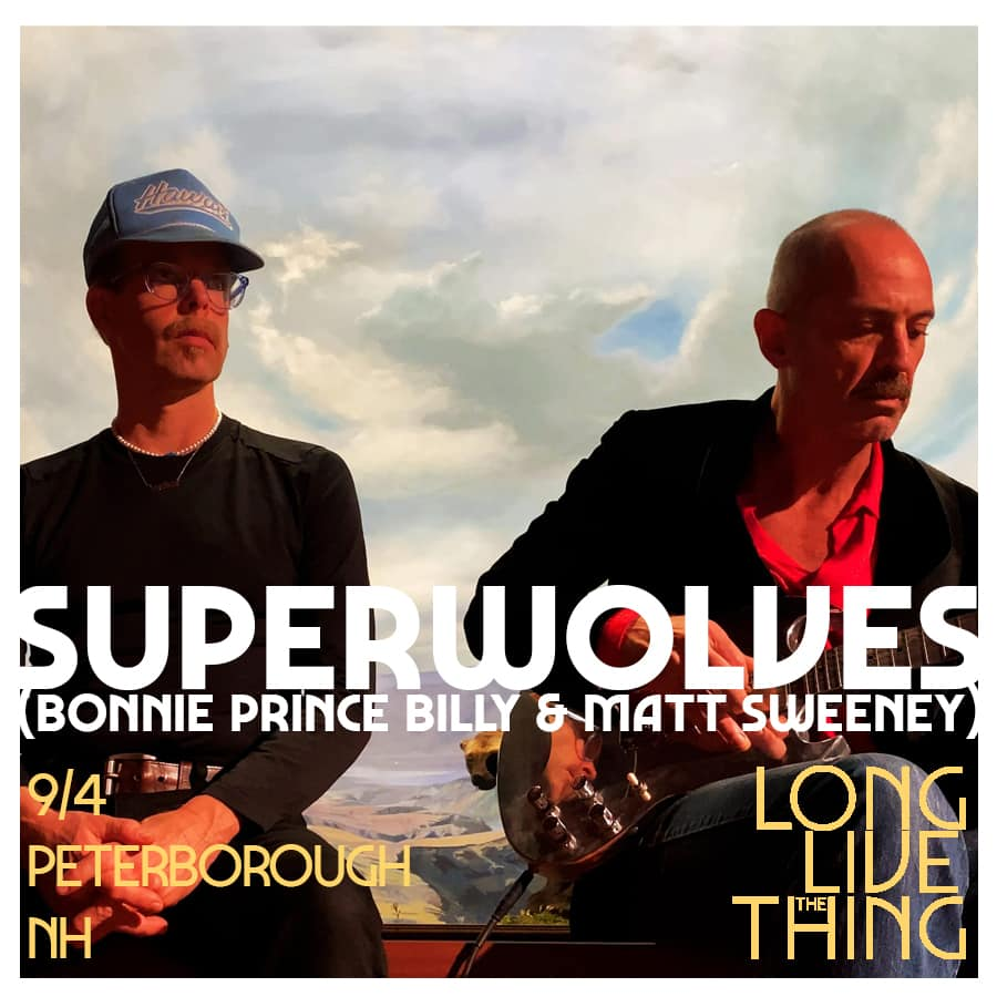 An advertisement for a band playing at Long Live the Thing, two men with guitars and a cloudy sky behind them have the words SUPERWOLVES placed atop the image.
